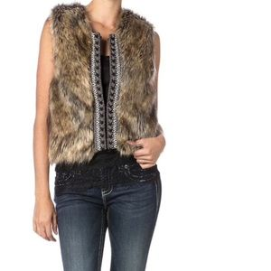 Miss me faux fur sweater vest